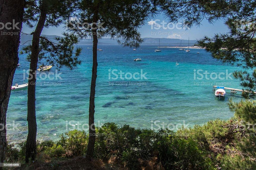 Coast to Zlatni Rat beach stock photo