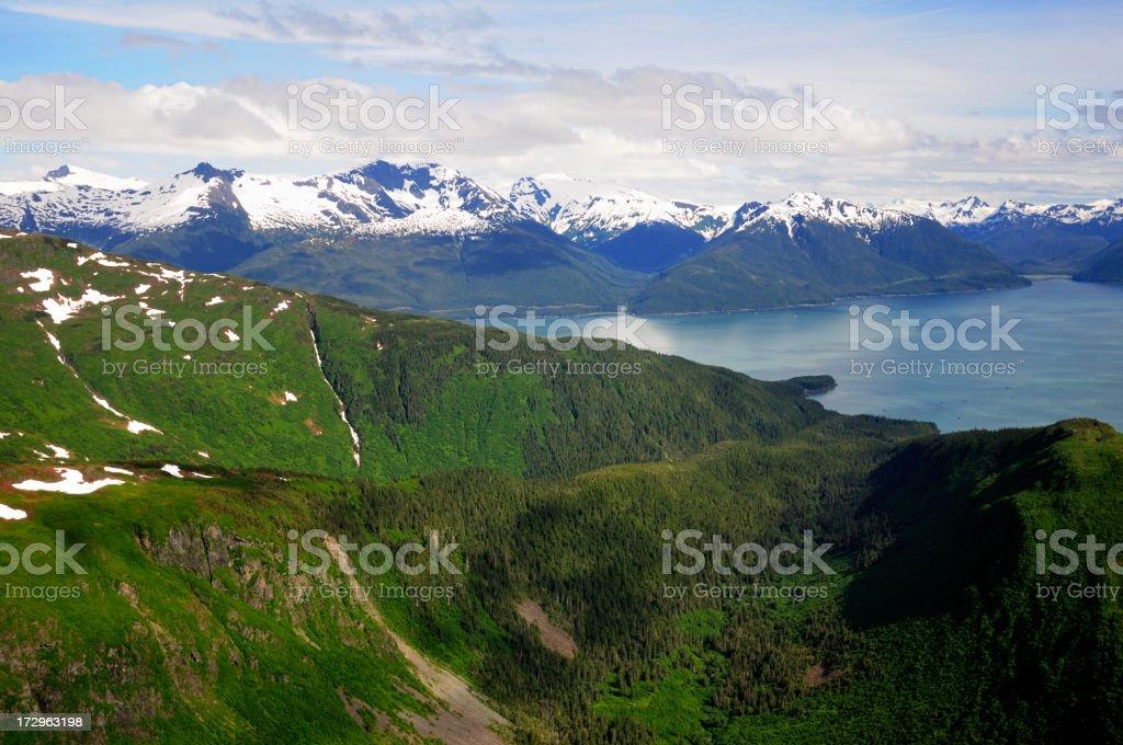 Coastal Alaska and the Taku inlet. stock photo