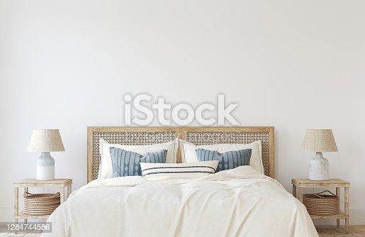 istock Coastal bedroom. Interior mockup. 3d render. 1284744586