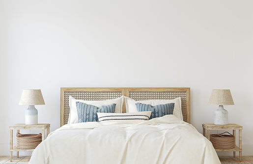 Coastal bedroom. Interior mockup. 3d render.