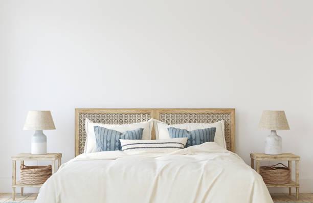Coastal bedroom. Interior mockup. 3d render. stock photo