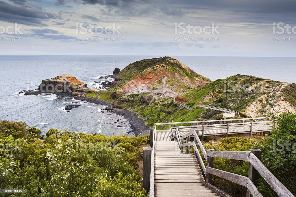 Coastal boardwalk in Cape Schanck in Victoria, Australia stock photo