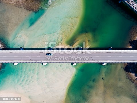 Aerial photograph of a coastal bridge in Tasmania, Australia