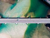 Aerial photograph of a coastal bridge in Tasmania, Australia