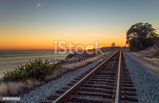 Railroad tracks along the Pacific Coast near Santa Barabara, California.