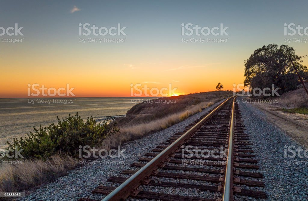Coastal California railroad stock photo