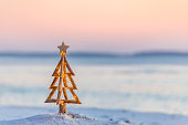Coastal Christmas.  A Christmas tree with pretty fairy lights on the beach in Australia with soft background blur suitable for message