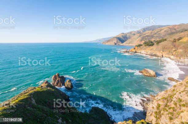 Photo of Coastal Cliffs and Waves in Big Sur, California