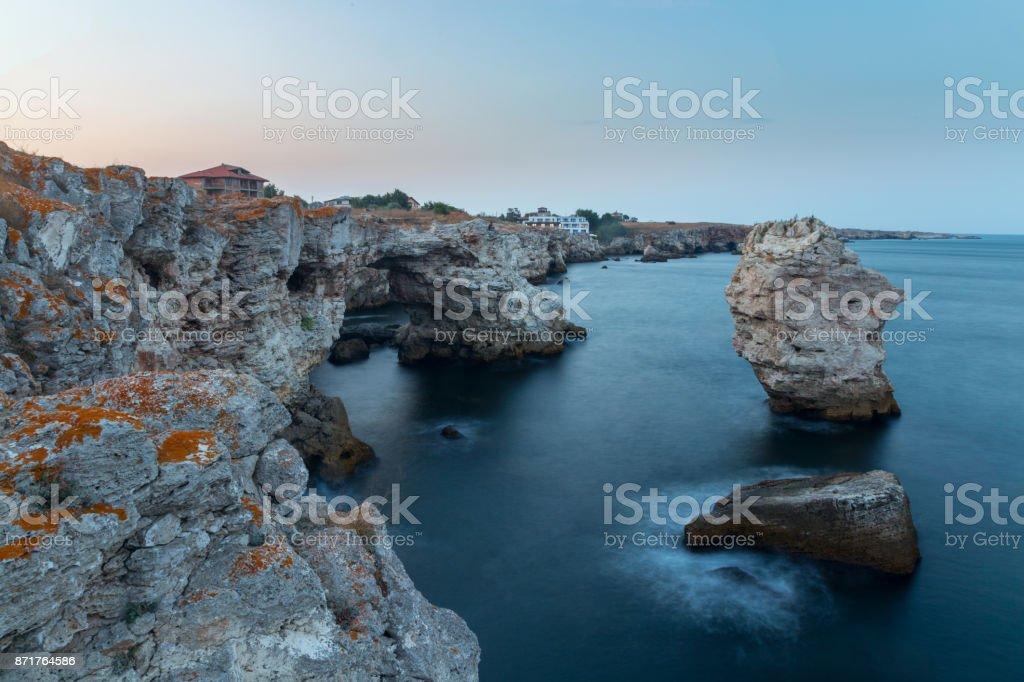 Coastal cliffs at Tyulenovo, Bulgaria stock photo