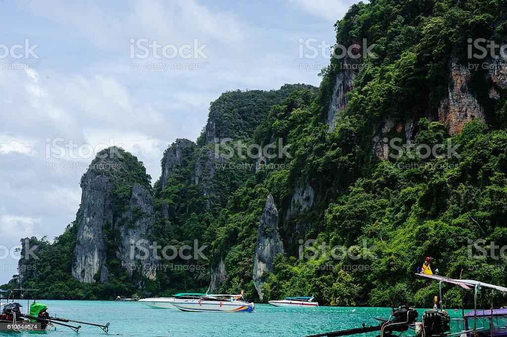 Coastal cliffs on the beach of Koh, Thailand stock photo