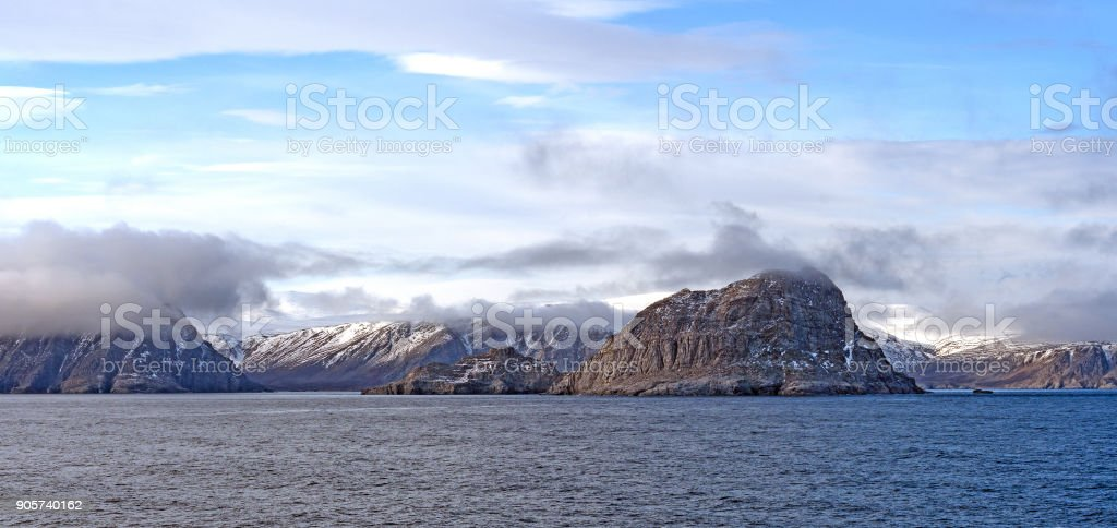 Coastal Clouds in the High Arctic stock photo