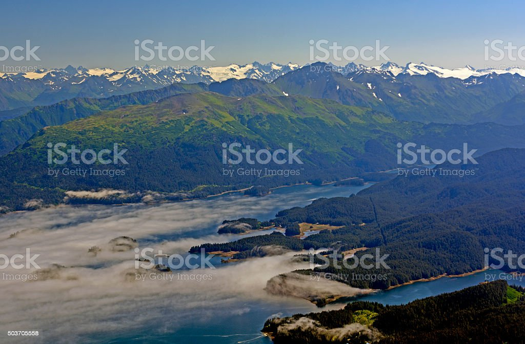Coastal Clouds Viewed from Above stock photo