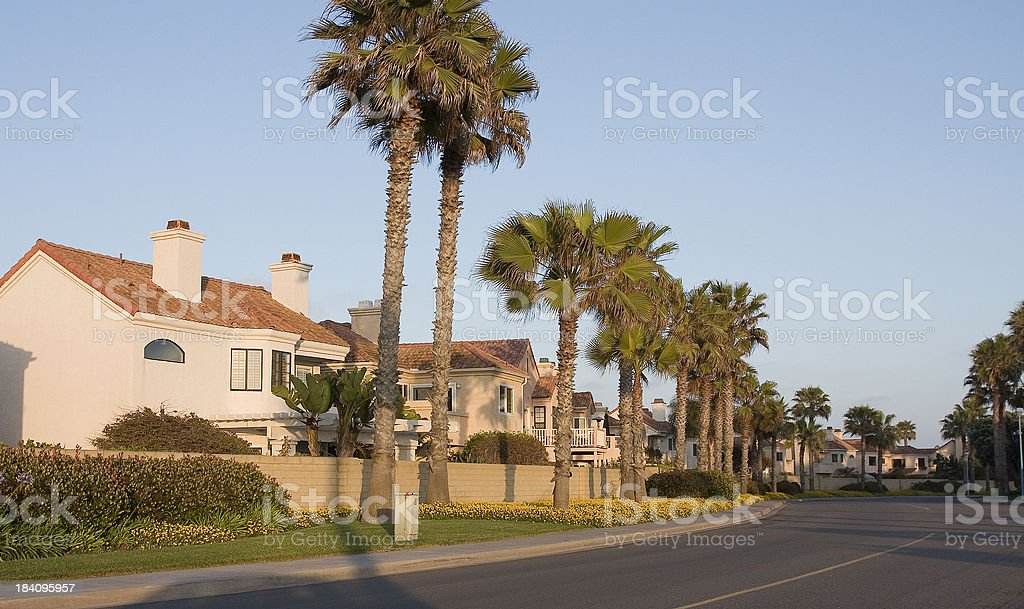 Coastal Community at sundown stock photo