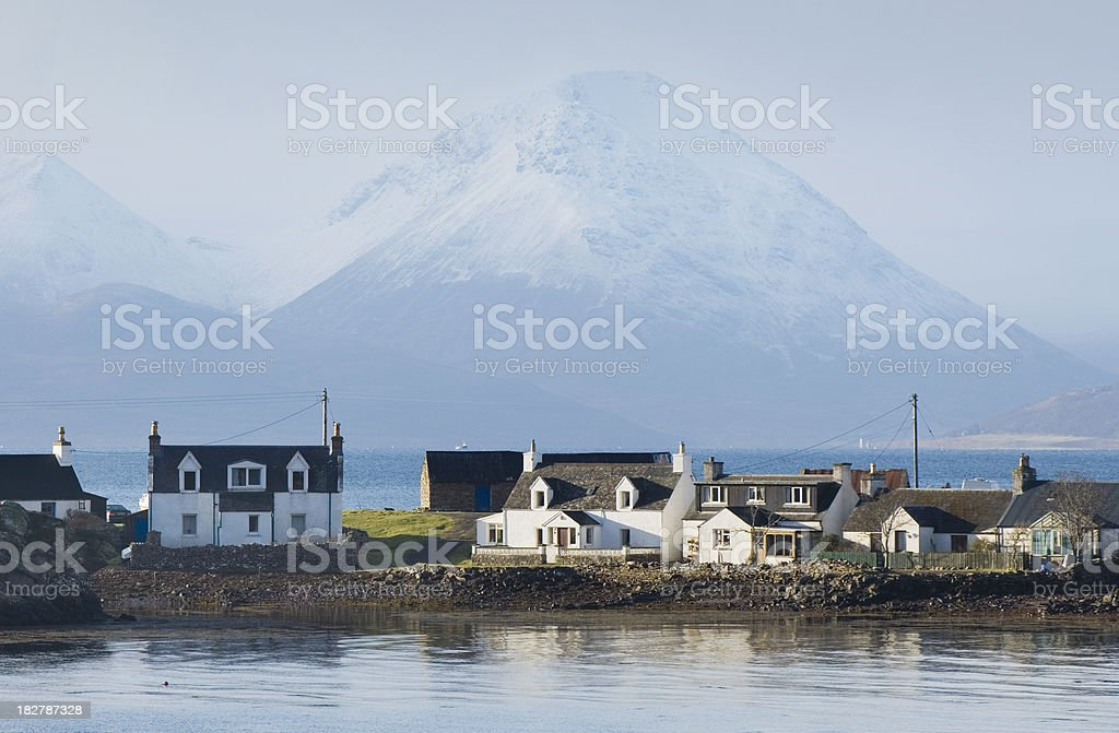 Coastal cottages, Applecross stock photo