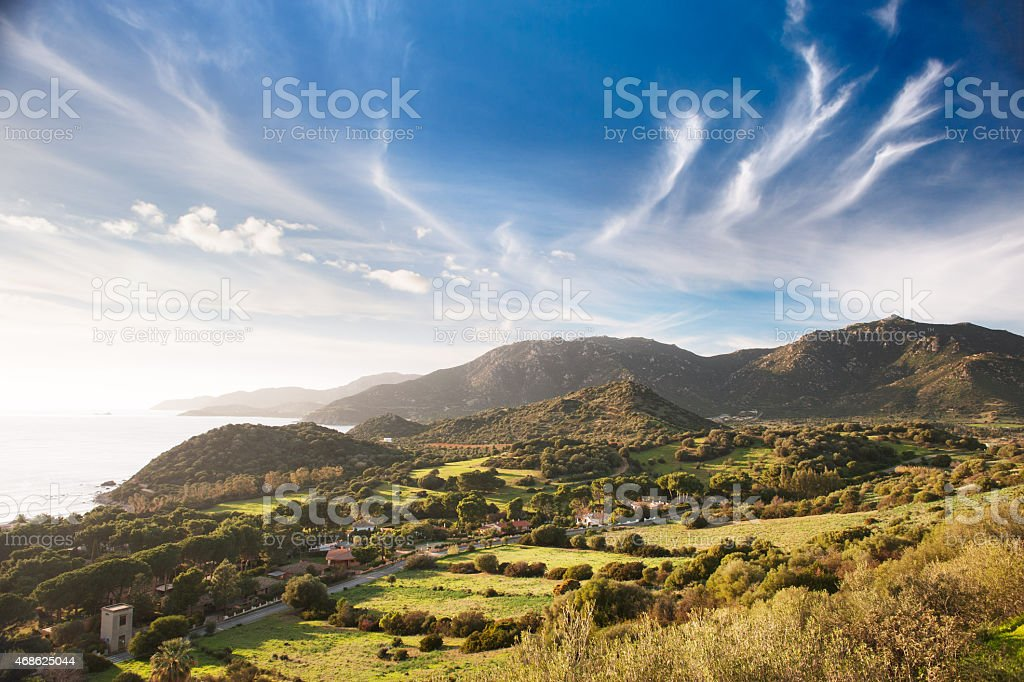 Coastal countryside view stock photo