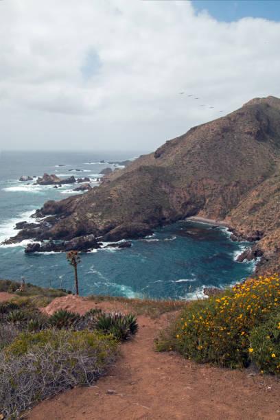 Coastal cove between Ensenada and  La Bufadora on coast of Baja California Mexico stock photo