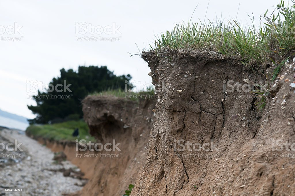 coastal erosion and landslide stock photo