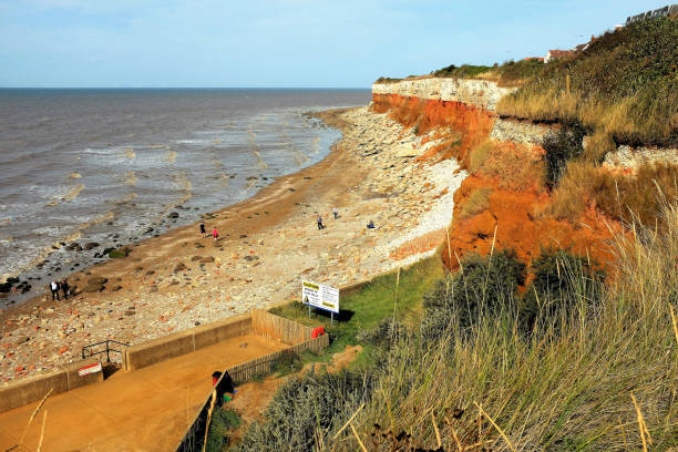 Coastal Erosion, Hunstanton, Norfolk. stock photo