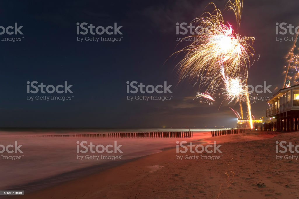 coastal fireworks scenery stock photo