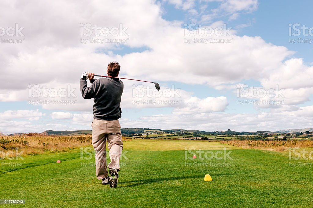 Coastal golf course drive stock photo