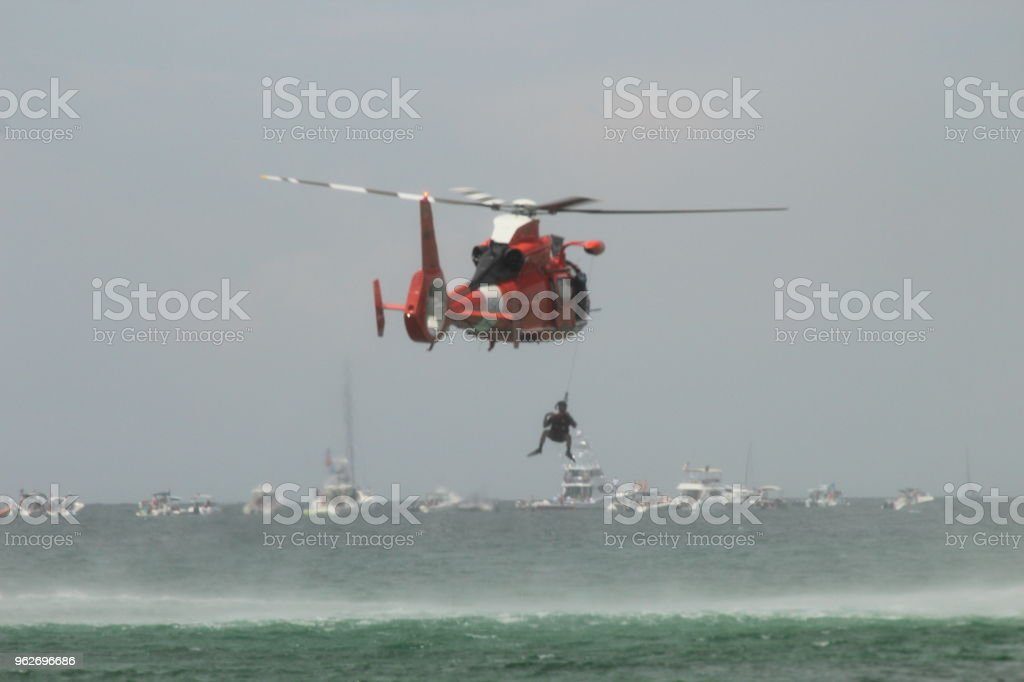 Coastal Guard Helicopter stock photo