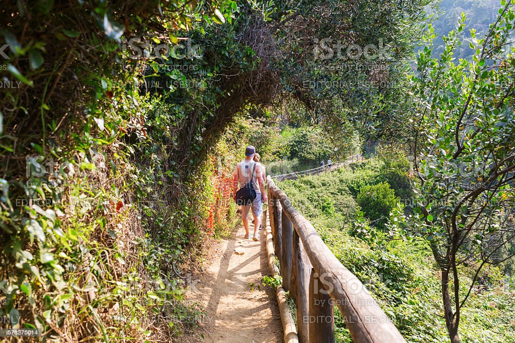coastal hiking trail in the Cinque Terre, Italy stock photo