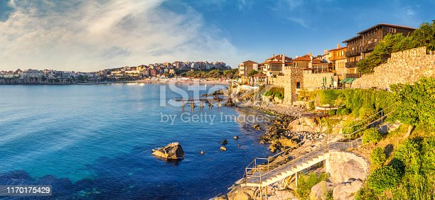 istock Coastal landscape banner, panorama - embankment with fortress wall in the city of Sozopol 1170175429