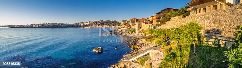 istock Coastal landscape banner, panorama - embankment with fortress wall in the city of Sozopol 908816338