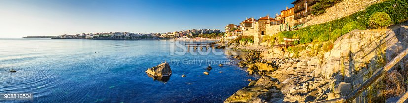 istock Coastal landscape banner, panorama - embankment with fortress wall in the city of Sozopol 908816504