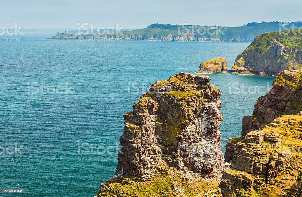 coastal landscape Bretagne, France stock photo