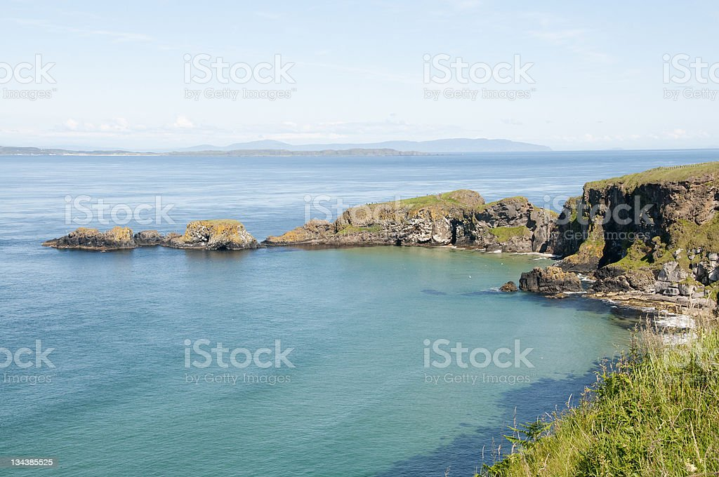 Coastal landscape in Carrick-a-Rede stock photo