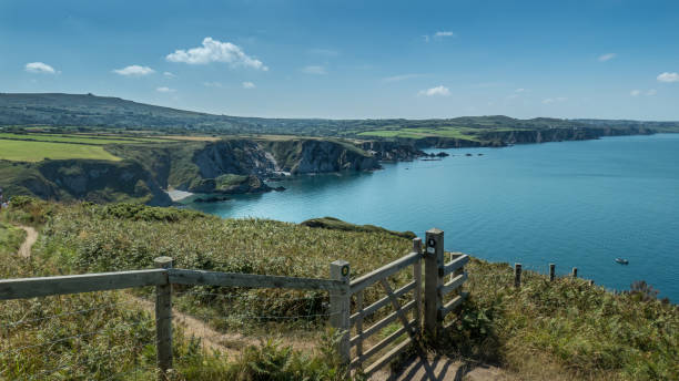 Coastal landscape in Pembrokeshire, Wales (United Kingdom) Coastal landscape in Pembrokeshire, Wales (United Kingdom), north of Fishguard, at the beginning of Dinas Head south wales stock pictures, royalty-free photos & images