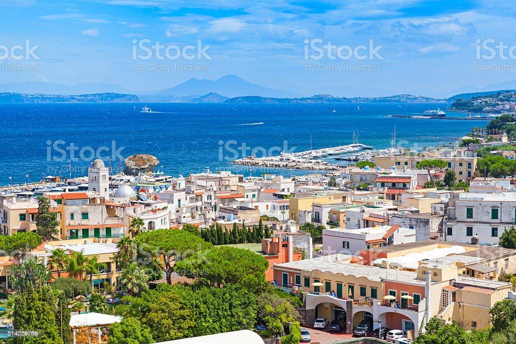 Coastal landscape of Lacco Ameno resort. Ischia stock photo