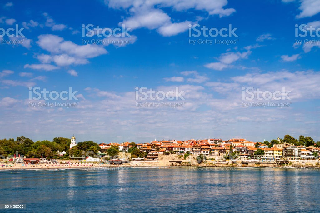 Coastal landscape town of Sozopol under the sky with clouds stock photo