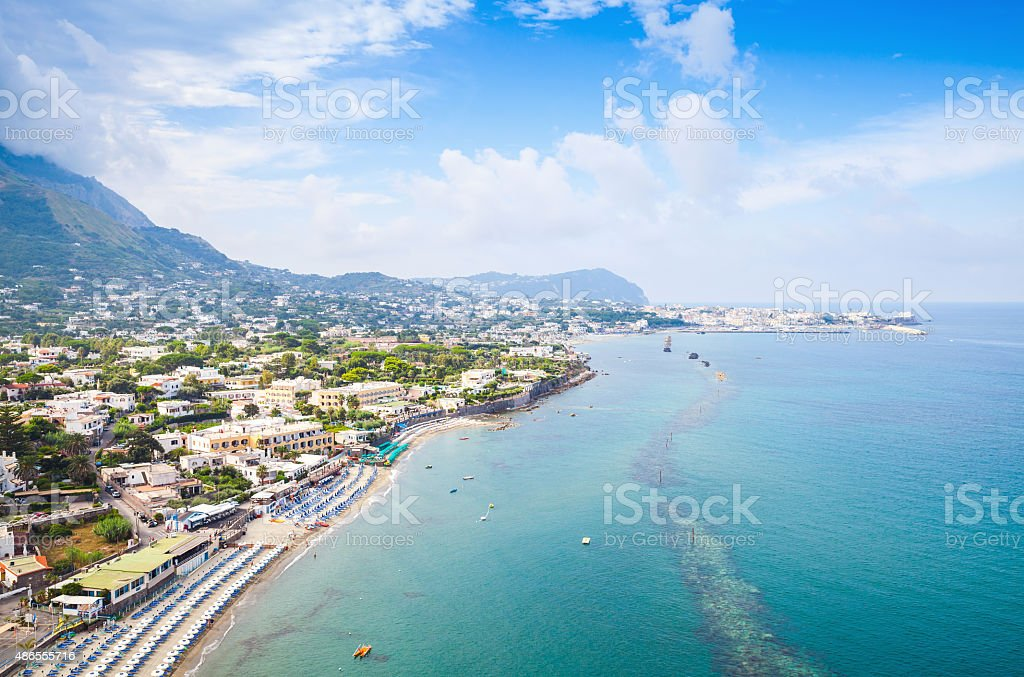 Coastal landscape with beach of Forio, Ischia stock photo