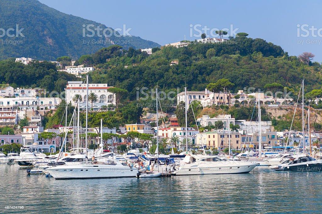 Coastal landscape with marina of Casamicciola stock photo