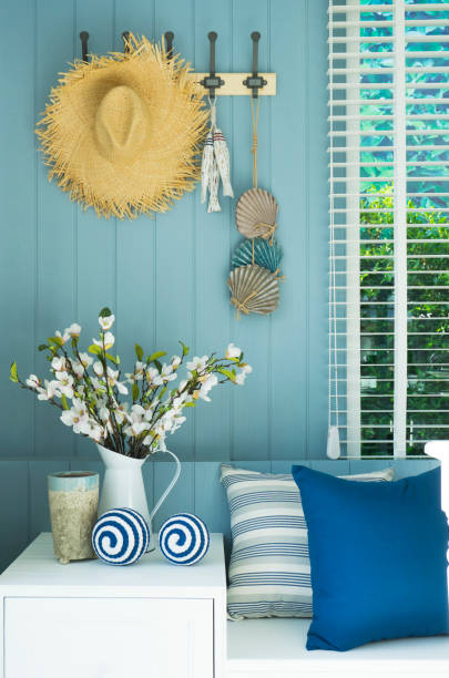coastal living room stock photo