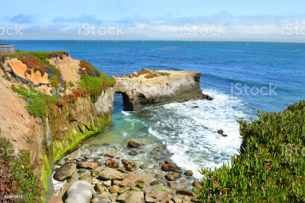 Coastal mountains landscape, stock photo