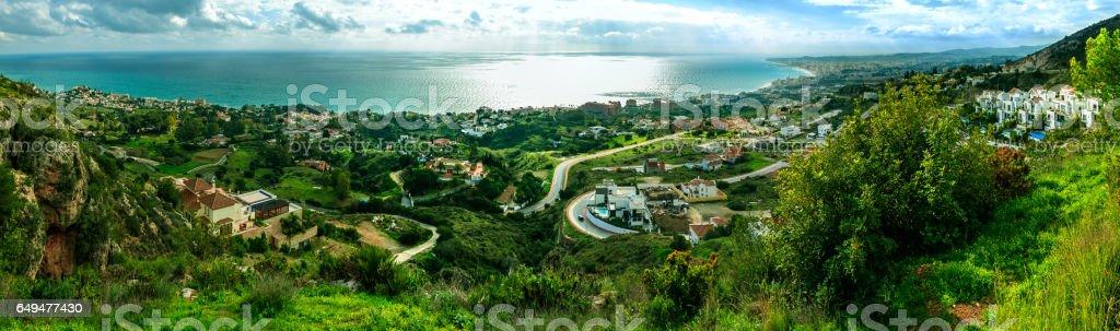 Coastal Panorama in Malaga, Spain stock photo