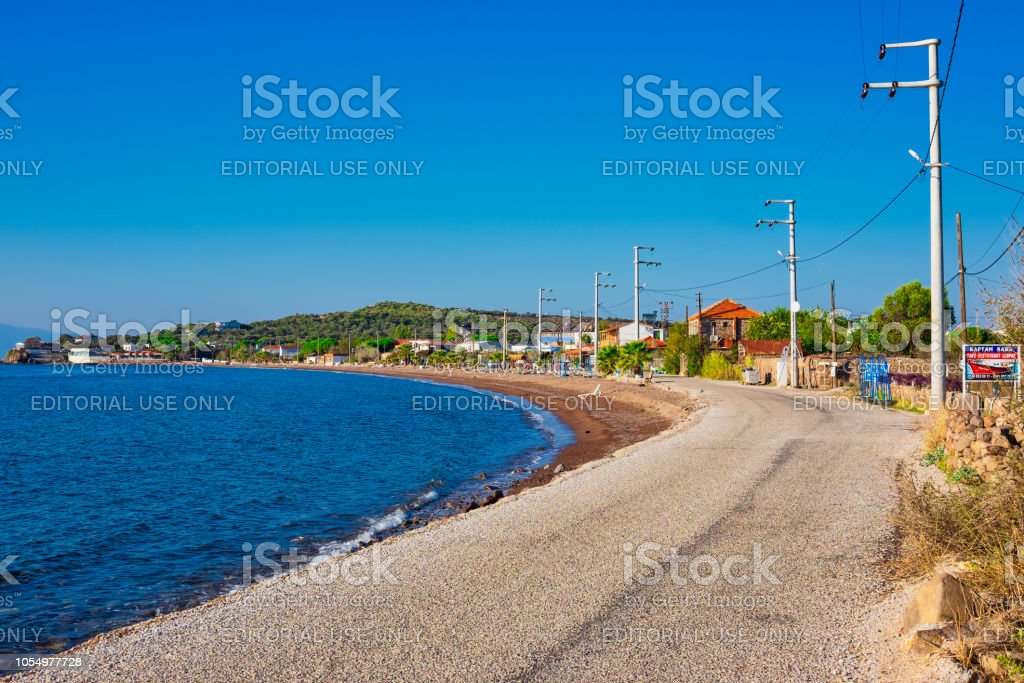 Coastal path and the beach  of seaside fishing village stock photo