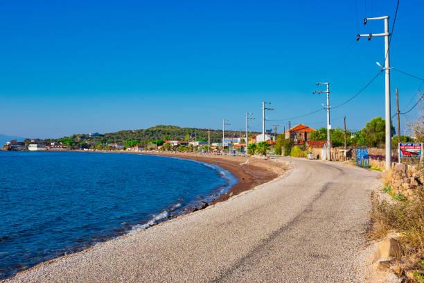 Coastal path and the beach  of seaside fishing village stock photo