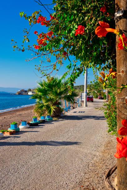 Coastal path of seaside fishing town stock photo