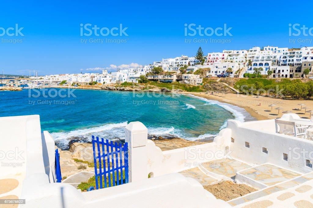 Coastal path to Piperi beach in Naoussa village, Paros island, Cyclades, Greece stock photo