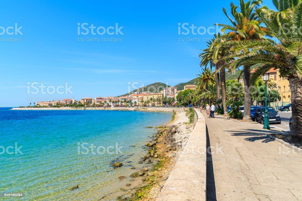 Paseo marítimo con palmeras en la ciudad de Ajaccio, isla de Córcega, Francia - foto de stock
