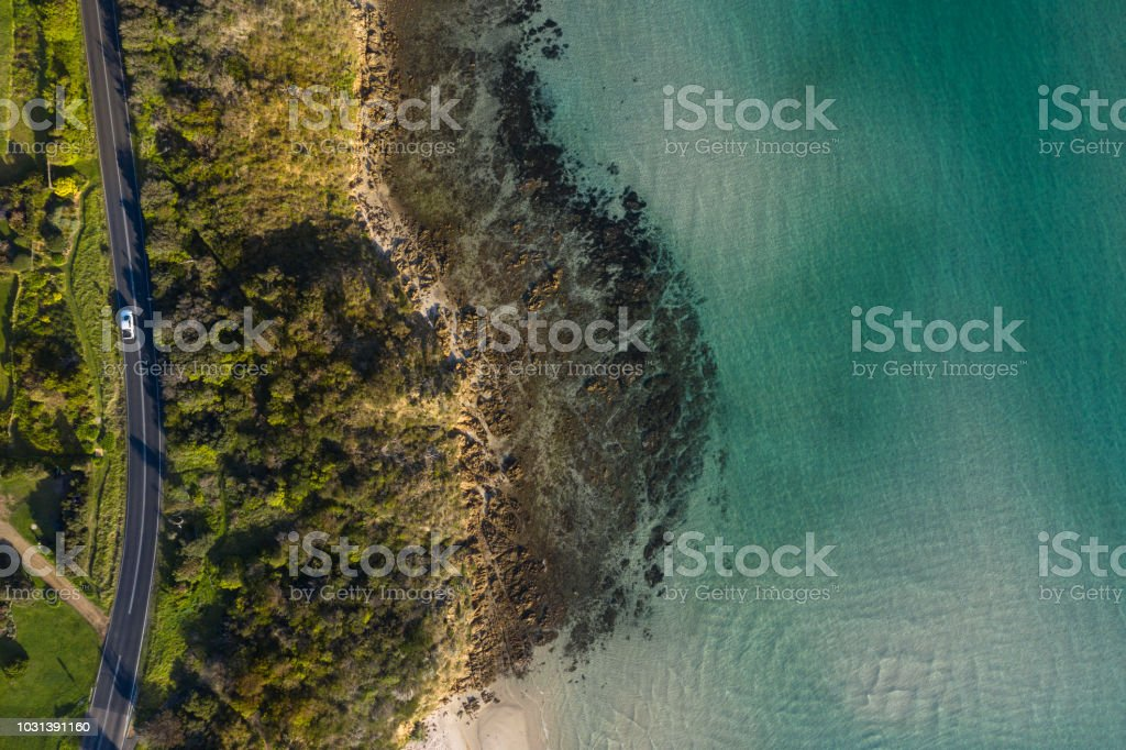 Aerial photograph capturing a coastal road in Mt Martha, Victoria.