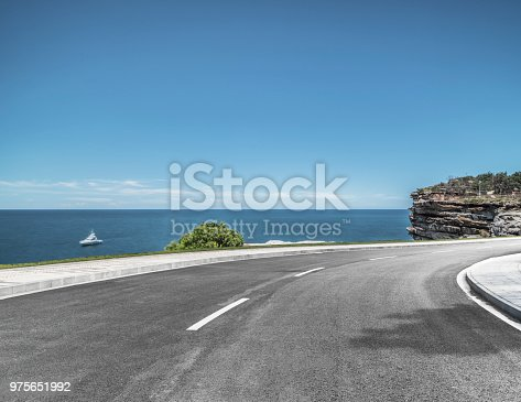 Scenic view of sea and cliff against sky,Sydney,New south wales,Australia