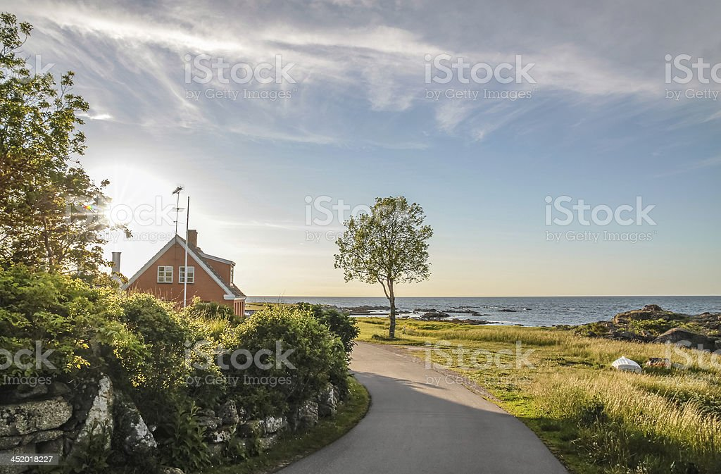 Coastal road on  Bornholm stock photo