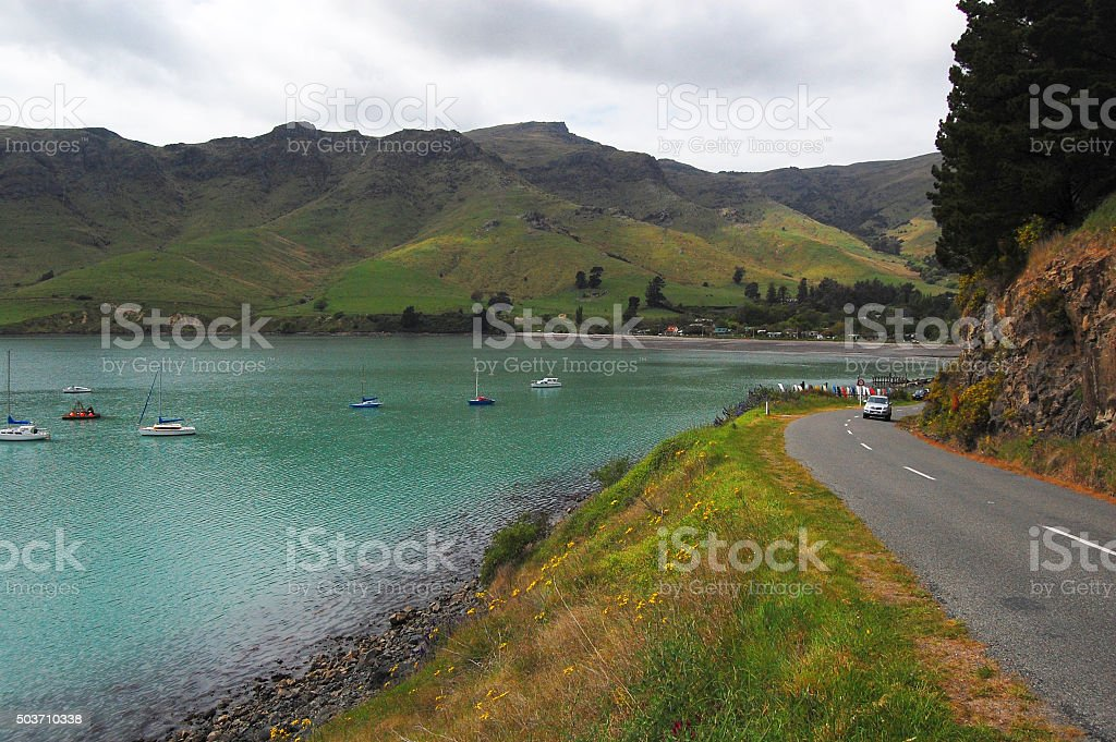 Coastal road sea bay stock photo