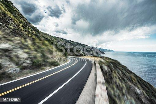 coastal road,blurred motion,Carmel-by-the-Sea,California,USA.