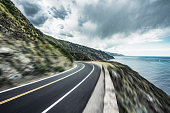 coastal road,blurred motion,Carmel-by-the-Sea,California,USA.